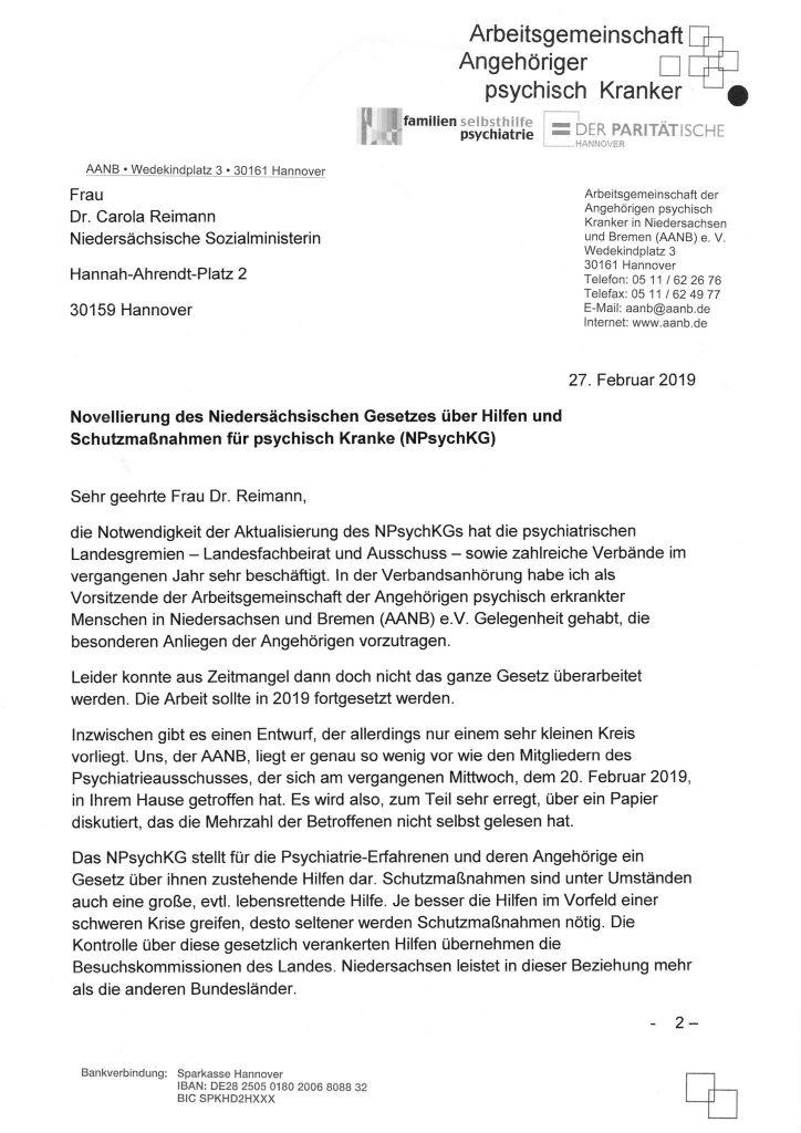 Schreiben vom 27.02.2019 unserer Vorsitzenden, Frau Rose-Marie Seelhorst, an die Niedersächsische Sozialministerin, Frau Dr. Carola Reimann - Seite 1
