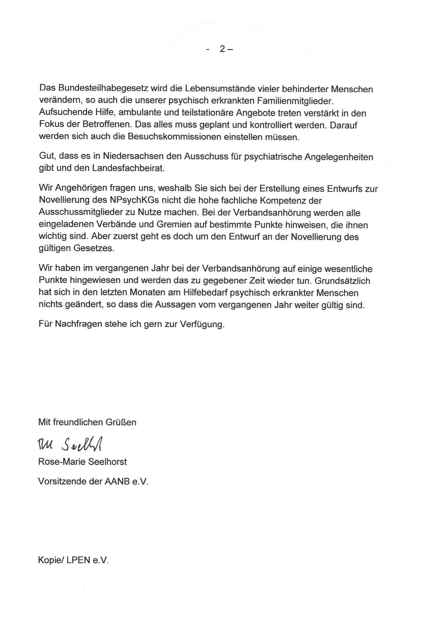 Schreiben vom 27.02.2019 unserer Vorsitzenden, Frau Rose-Marie Seelhorst, an die Niedersächsische Sozialministerin, Frau Dr. Carola Reimann - Seite 2